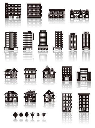 Illustration pour Building the icon  silhouette - image libre de droit