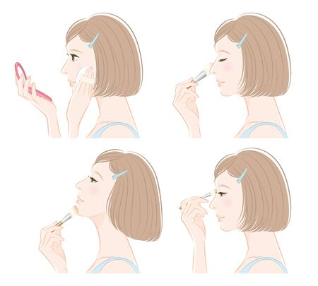 Illustration for Illustration of a woman doing makeup - Royalty Free Image