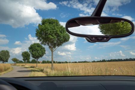 Photo pour Rearview mirror inside the car, Rearview mirror in the Cabriolet - image libre de droit