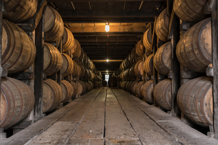 Photo for Low Angle of Bourbon Aging Warehouse Walkway in basement storage - Royalty Free Image