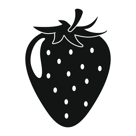 Ilustración de Strawberry in black simple silhouette style icons vector illustration for design and web isolated on white background. Strawberry vector object for labels and logo - Imagen libre de derechos