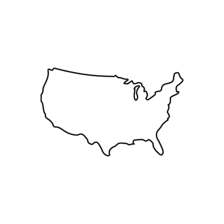 Illustration pour Usa map icon. Outline usa map vector icon for web design isolated on white background - image libre de droit