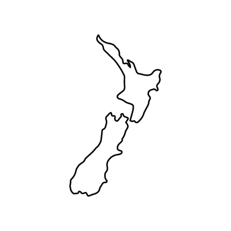 Illustration pour New Zealand map icon. Outline New Zealand map vector icon for web design isolated on white background - image libre de droit