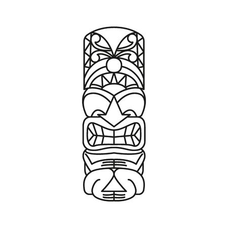 Ilustración de Tiki Tribal Totem head. Traditional Totem icon, North America culture Element, black outline vector illustration - Imagen libre de derechos