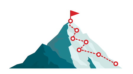 Illustration pour Mountain climbing route to peak in flat style. Business journey path in progress to success vector illustration. Mountain peak, climbing route to top rock illustration - image libre de droit