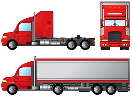 Illustration pour set big american truck on white background - image libre de droit