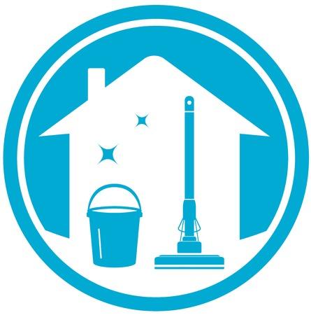 Ilustración de blue cleaning house icon with mop and bucket - Imagen libre de derechos