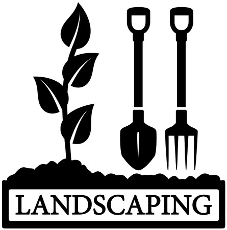 Illustration for black landscaping icon with sprout and gardening tools silhouette - Royalty Free Image