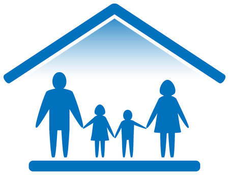 Illustration for big family silhouette on home blue icon - Royalty Free Image