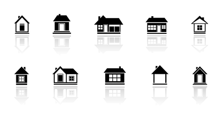 Illustration pour set isolated cottage and home with mirror reflection silhouette - image libre de droit