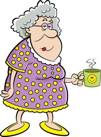 Foto de Cartoon illustration of an old lady holding a coffee mug. - Imagen libre de derechos