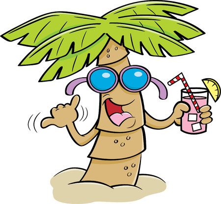 Ilustración de Cartoon illustration of a palm tree wearing sunglasses and holding a drink. - Imagen libre de derechos