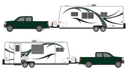 Illustration pour Pickup pulling camp trailer viewed from both sides - image libre de droit