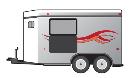 Illustration pour A horse trailer with red and orange graphics is ready to hook up and go - image libre de droit