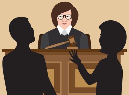 Ilustración de A female judge is listening to two lawyers argue their cases. - Imagen libre de derechos