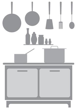 Illustration pour A commercial kitchen background in shades of gray - image libre de droit