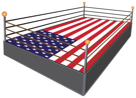 Illustration for A professional wrestling ring has an American flag for a mat - Royalty Free Image