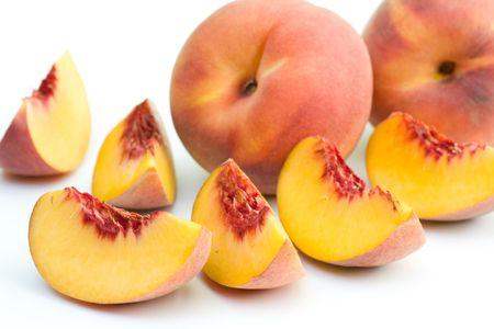 Photo for Fresh peaches on white background. - Royalty Free Image