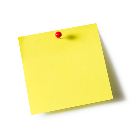 Photo for Yellow paper note pad attached with push pin on white background - Royalty Free Image