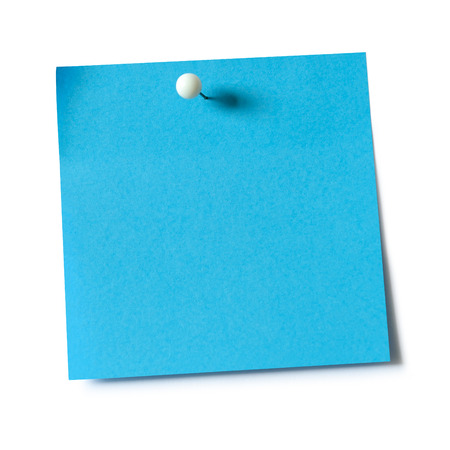 Photo for Blue paper note pad attached with push pin on white background - Royalty Free Image
