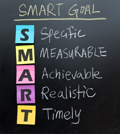 Foto de SMART (specific, measurable, acceptable, realistic, timely) goal setting concept written on blackboard - Imagen libre de derechos