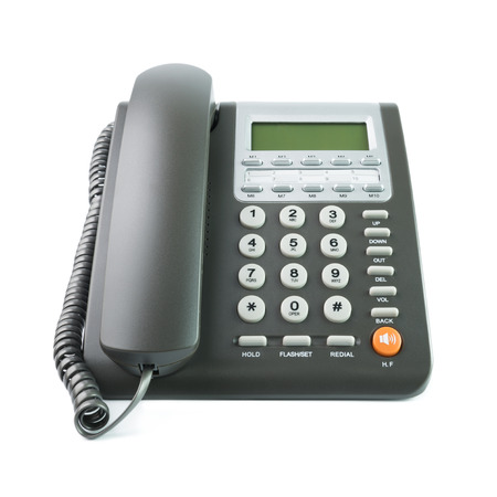 Photo for Modern grey color desk telephone isolated on white background - Royalty Free Image