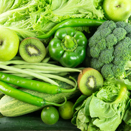 Close up of green vegetables and fruits for background