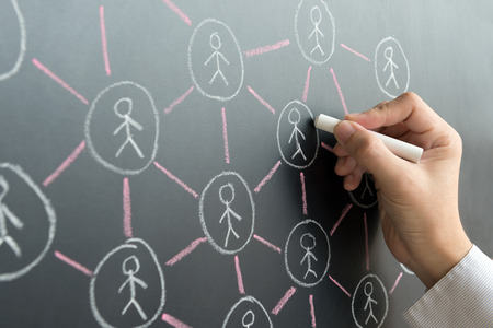 Foto de Hand draw social network on black board using chalk - Imagen libre de derechos