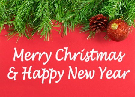 Foto de Merry Christmas and Happy New Year greeting message - Imagen libre de derechos