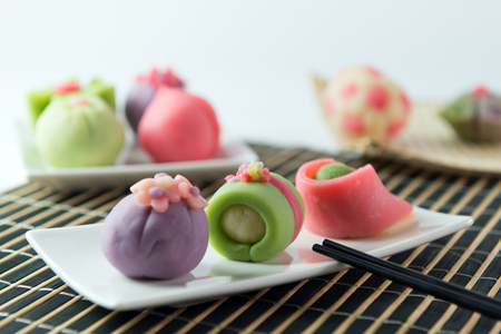 Photo for Japanese traditional confectionery cake wagashi served on plate - Royalty Free Image