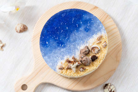 No baked ocean blue cheese cake with chocolate seashells decoration