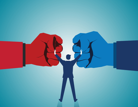Illustration pour Mediate and legal mediation business concept as a businessman or lawyer separating two fist glove opposing competitors as an arbitration success symbol for finding a solution to solve a conflict. Vector flat - image libre de droit