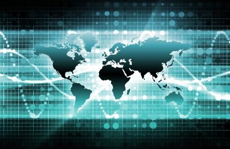 Photo pour Blue International News Update with Globe Map - image libre de droit