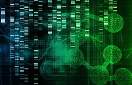 Foto de Genetic Background with DNA Genome Sequence Art - Imagen libre de derechos