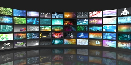 Foto de Television Production Technology Concept with Video Wall - Imagen libre de derechos