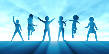 Photo for Children Jumping for Joy and Excitement Background - Royalty Free Image