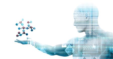 Foto de Science Technology and 3d Genetic Atomic Concept - Imagen libre de derechos