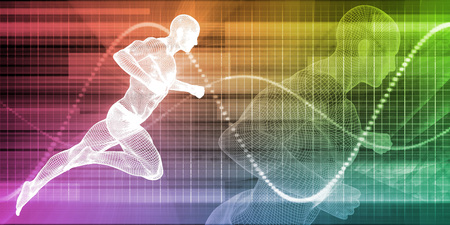 Photo for Wire Mesh Man Running on a Chart Background - Royalty Free Image