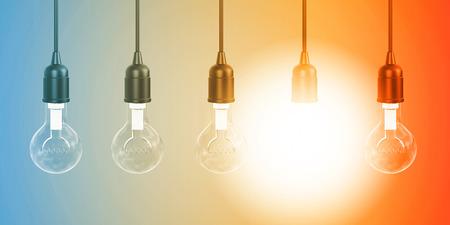 Photo pour Row of Hanging Lightbulbs with One Lit Up - image libre de droit