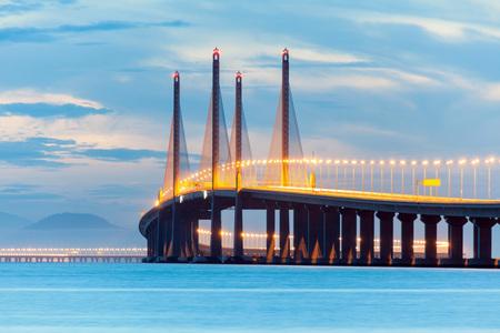 Photo for 2nd Penang Bridge or known as Sultan Abdul Halim Muadzam Shah bridge view during dawn - Royalty Free Image
