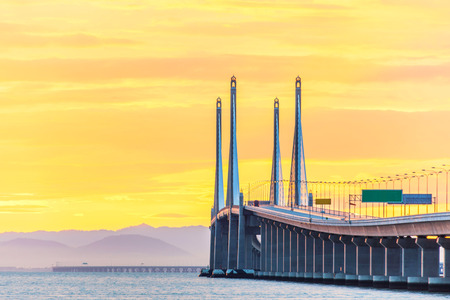 Photo for 2nd Penang Bridge view during dawn in George Town, Penang, Malaysia - Royalty Free Image