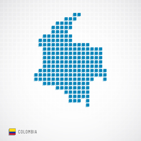 Illustration for Colombia map dotted basic shape and flag icon - Royalty Free Image