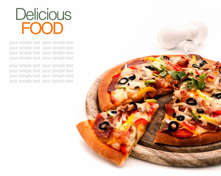 Photo for Delicious homemade pizza with ham and vegetables  - Royalty Free Image