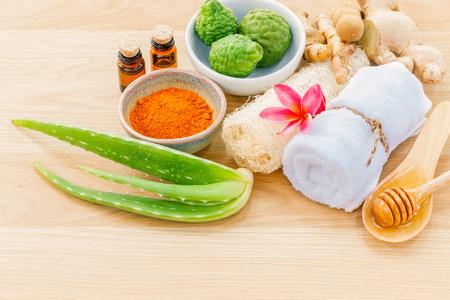 Photo pour Traditional of thai skin care ingredients. - Macro shot with copy space. - image libre de droit