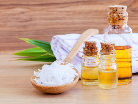 Photo for Natural Spa Ingredients . - Coconut essential Oil for alternative therapy. - Royalty Free Image