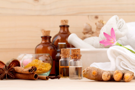 Photo for Natural Spa Ingredients Aromatherapy and Natural Spa theme  on wooden background. - Royalty Free Image