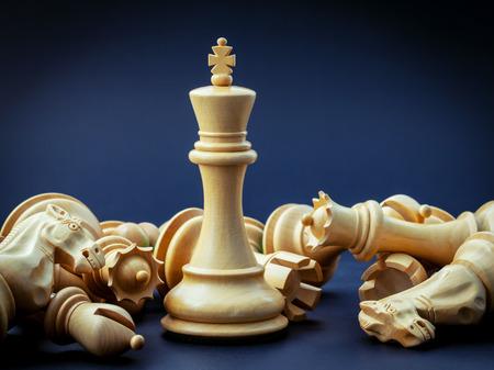 Foto de Chess concept save the king and save the  strategy. - Imagen libre de derechos