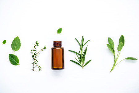 Photo for Bottle of essential oil with fresh herbal sage, rosemary, lemon thyme ,thyme ,green mint and peppermint setup with flat lay on white wooden table. - Royalty Free Image