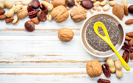 Photo for Selection food sources of omega 3 and unsaturated fats. Superfood high vitamin e and dietary fiber for healthy food. Mixed nuts almond ,pecan,hazelnuts,walnuts and various beans on white background. - Royalty Free Image