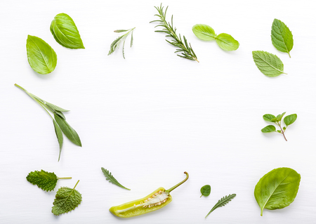 Photo for Various fresh herbs for cooking ingrediens peppermint , sweet basil ,rosemary,oregano, sage and lemon thyme on white wooden background with flat lay and copy space. - Royalty Free Image